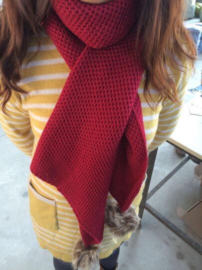 维言围巾女冬保暖毛线女士围巾针织围脖大毛球球纯色围巾 酒红色 晒单图