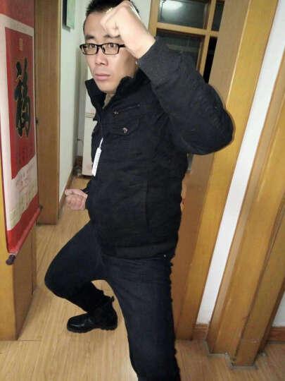 御梵 秋冬季2018新款夹克男修身冬天款夹克男立领青年外套男牛仔加绒加厚保暖风衣短款工装 1218卡其色 4XL(薄款) 晒单图