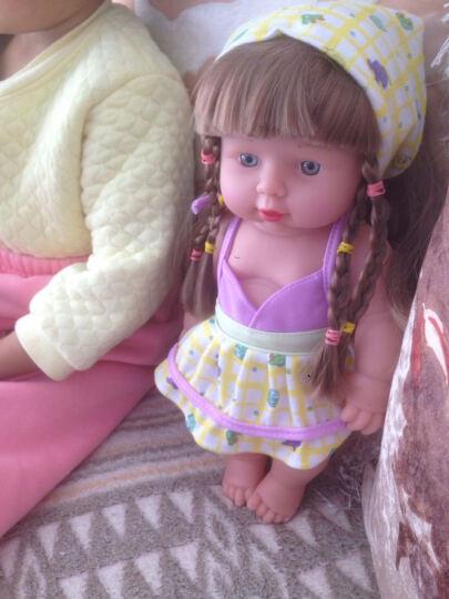 宝诚达智能塑胶仿真婴儿小娃娃洗澡洋娃娃软胶宝宝早教安抚玩具 蓝色衣服30CM 晒单图