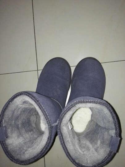 米基冬季新款牛皮中筒雪地靴女款 经典中筒靴子厚雪地棉 女鞋 灰色 38 晒单图