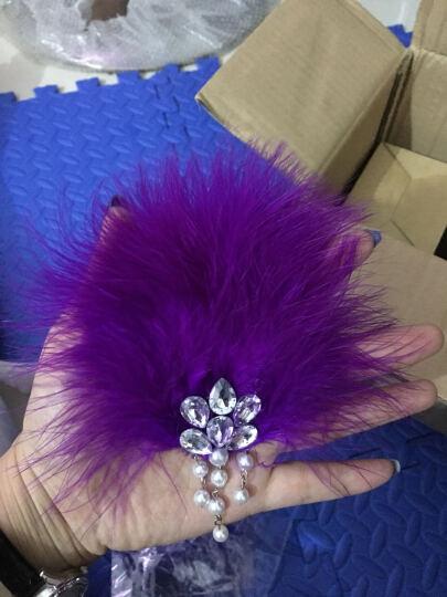 班巧笛舞蹈配饰拉丁舞头饰带发夹羽毛发饰女童 圆形绒毛头饰-紫色 均码 晒单图