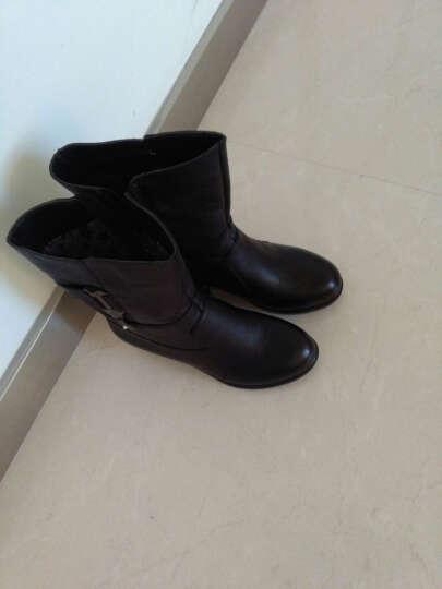 莎美茜女靴真皮马丁靴女士中跟粗跟加绒保暖棉鞋女靴妈妈鞋欧美风潮流中筒靴子女 黑色厚 36 晒单图