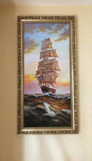 欧式风景油画海景帆船别墅玄关过道楼梯