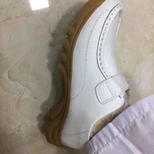 冬新款皮护士棉鞋加绒加厚女鞋妈妈鞋休闲坡跟皮鞋子 白色 偏小一码 37 晒单图