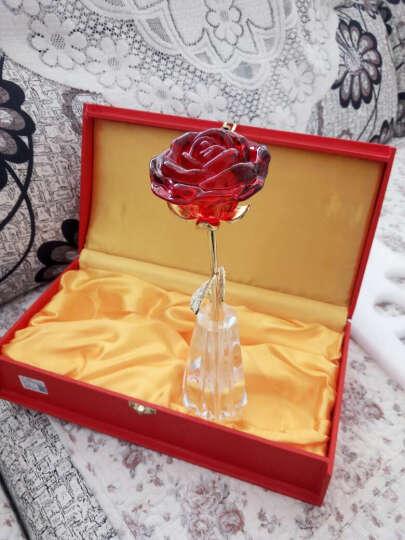 点魅 生日礼物送女友 创意合成水晶玫瑰花送老婆 创意结婚纪念日礼品摆件 蓝色含苞款+花瓶+礼盒 晒单图