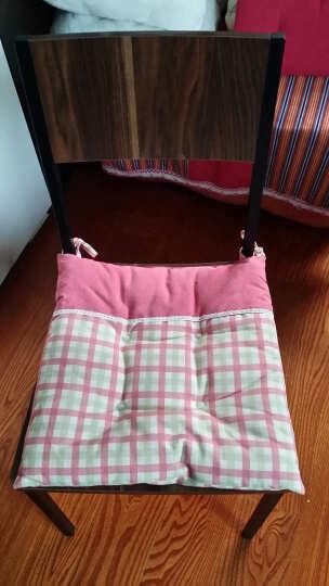 一朵  坐垫 椅子垫 冬季加厚办公坐垫 靠垫座垫 布艺卡通椅子做垫 浅红咖格带扣子 43*43 晒单图