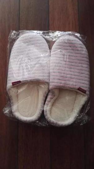 棉拖鞋男女冬季情侣包跟棉拖冬天居家地板加绒防滑保暖条纹拖鞋 卡其色(男款) 44/45(男士43-44脚) 晒单图