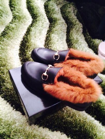 图美其(TUMEIQI)单鞋女懒人乐福鞋平底冬季加绒棉鞋英伦风小皮鞋豆豆鞋女毛毛鞋保暖 灰色毛毛 38 晒单图
