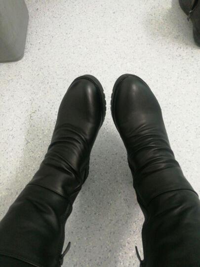 莱卡金顿冬天短靴冬季女鞋马丁靴裸靴韩版圆头女靴 冬季靴子女内增高加绒中筒靴长靴 黑色 37 晒单图