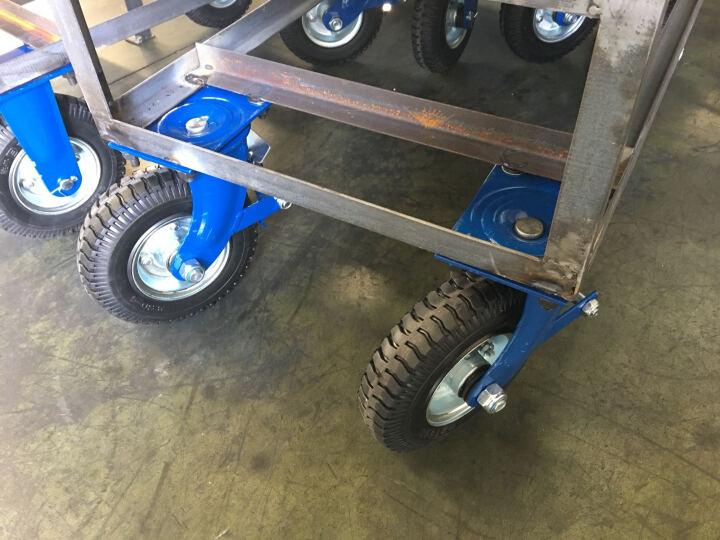 台湾得貹脚轮防爆轮胎中空胎烤漆蓝架 8寸重型免充气活动固定活刹车轮组万向轮径200mm 8寸蓝架活刹防爆胎 晒单图