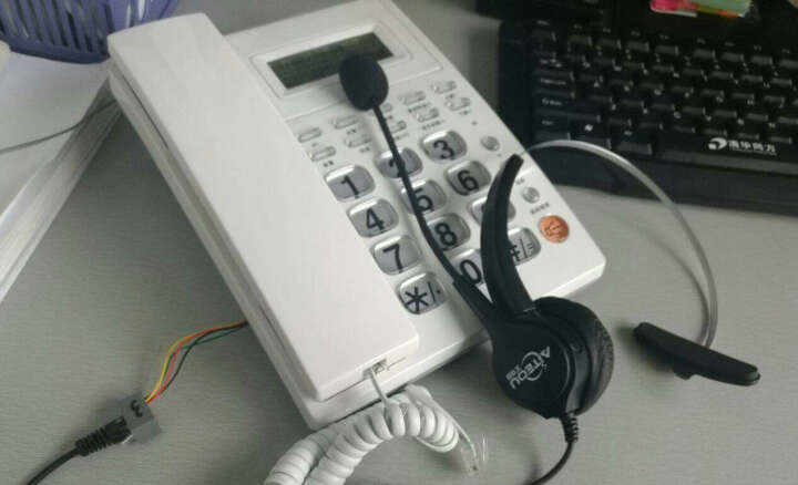 艾特欧HD300呼叫中心话务员耳麦客服话务耳机固话座机耳机 水晶头接口(带调音)   接电话机使用 晒单图