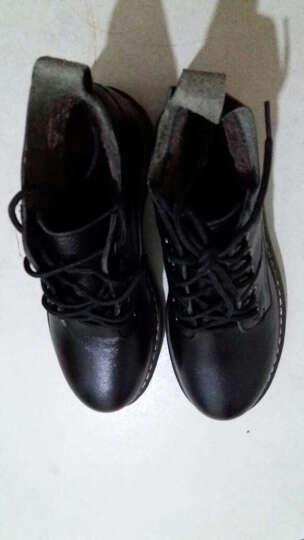 海月姬女靴秋冬新款短靴真皮马丁靴女靴单靴平跟厚底机车靴女靴子198 黑色加绒 37 晒单图