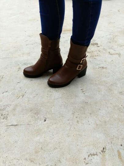 莱卡金顿2018秋冬女靴新款粗跟高跟中筒马丁靴皮带扣短靴侧拉链低跟靴 LK-A1882棕色 37 晒单图