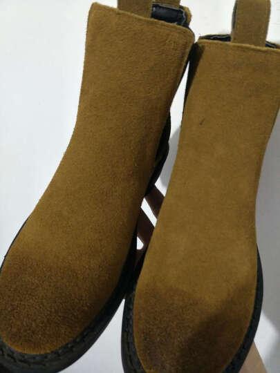 驰轩欧美风秋冬新款短靴女真皮平底短筒切尔西休闲加绒踝靴子单靴潮 绿色! 37 晒单图