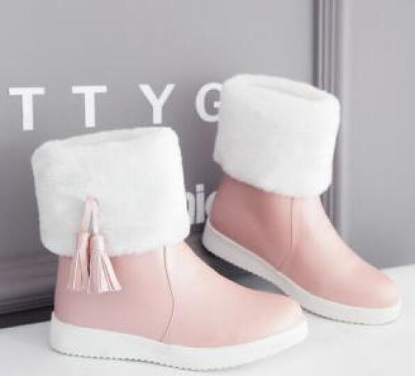 帛屐雪地靴女新款厚底短靴女流苏加厚保暖防寒棉靴棉鞋 粉色 37 晒单图