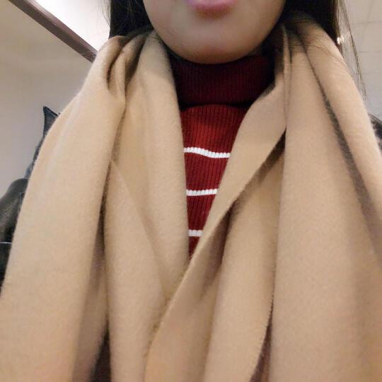 上海故事纯色羊毛围巾女冬空调披肩秋冬围巾女士冬季披肩加厚围脖年会大红色围巾男情侣款妈妈礼品送礼 深紫色 晒单图