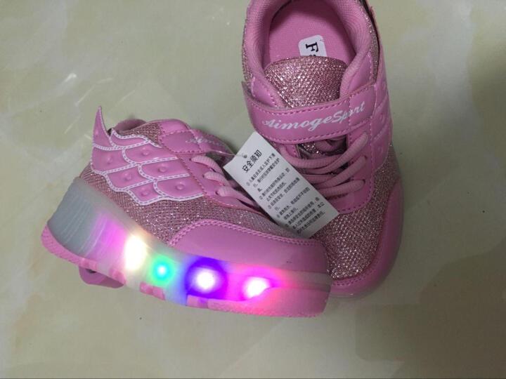 爱莫格(AIMOGE) 秋冬款暴走鞋女童鞋男童儿童 LED带灯款爆走鞋轮子鞋 双轮轻款686粉色 37/约23.5cm 晒单图