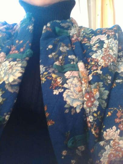 蓝月芊魅秋冬棉麻盘扣长袖立领民族风女装外套加厚棉衣J41-8 小花红 L 晒单图