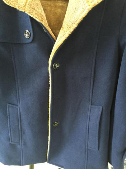 李绅大衣男外套秋冬款风衣中长款男士加绒加厚外套羊毛绒呢子大衣韩版 酒红色 M 晒单图
