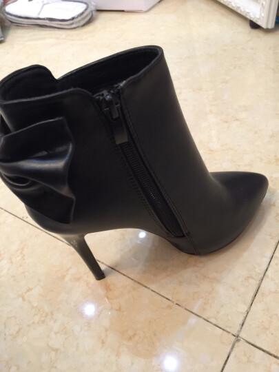 莱卡金顿高跟鞋女2017秋季新款时尚细跟尖头高跟单鞋丁侧拉链水钻女鞋 B258S5黑色 35 晒单图