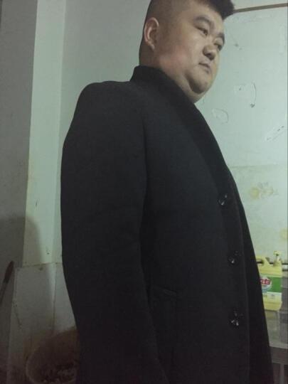 富贵鸟 羊毛呢大衣男 春秋季新款男装商务休闲修身中长款呢子大衣风衣男外套 1681黑色 XL/180 晒单图