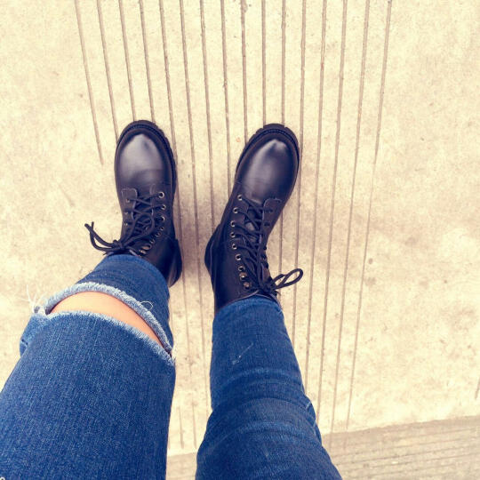 足迹缘秋冬新款短靴女圆头牛二层皮女靴欧美风中性马丁靴低跟系带低筒靴女 黑色(冬季加厚毛绒) 38 晒单图