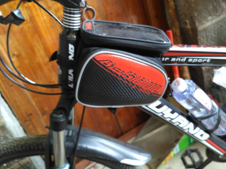 NE&CE BSK单车前横梁包上管包触屏手机包自行车骑行山地车马鞍包配件包 BSOUL红(5.7寸) 晒单图