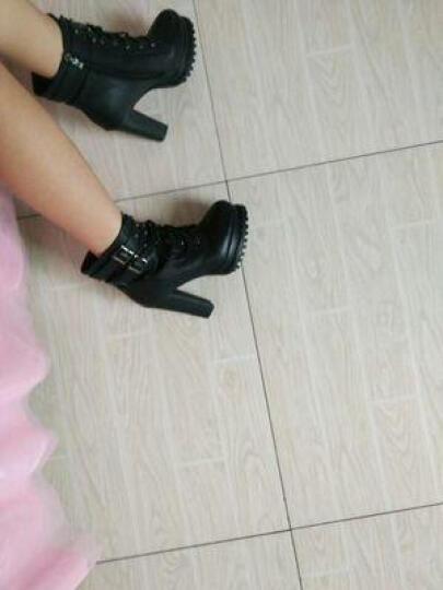 古奇天伦冬粗跟女靴潮女短靴加绒高跟女靴英伦风修脚保暖马丁雪地靴子 女鞋 红色 34码 晒单图