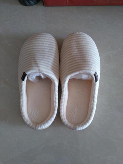 棉拖鞋男女冬季情侣包跟棉拖冬天居家地板加绒防滑保暖条纹拖鞋 麻灰(男款) 44/45(男士43-44脚) 晒单图