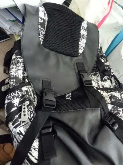 暗号双肩背包个性迷彩帆布大容量休闲运动旅行背包电脑包书包 涂鸦蓝大号版 晒单图