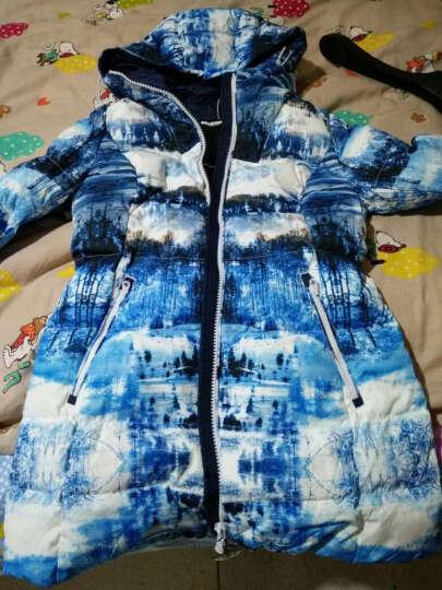 MISUN/米尚秋冬新款修身印花可脱卸手套连帽中长款羽绒服 女 雪山印花 L 晒单图