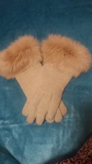 少女之家 可爱手套女冬韩版保暖触屏学生情侣款加厚保暖圣诞麋鹿雪花毛线针织手套 麋鹿款-玫红 晒单图