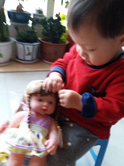 宝诚达智能塑胶仿真婴儿小娃娃洗澡洋娃娃软胶宝宝早教安抚玩具 黑色小辫子30CM 晒单图