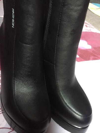 欧靓妮秋冬新款短靴女时尚马丁靴女单靴粗跟女靴厚底机车靴女靴子816 黑色加绒 37 晒单图