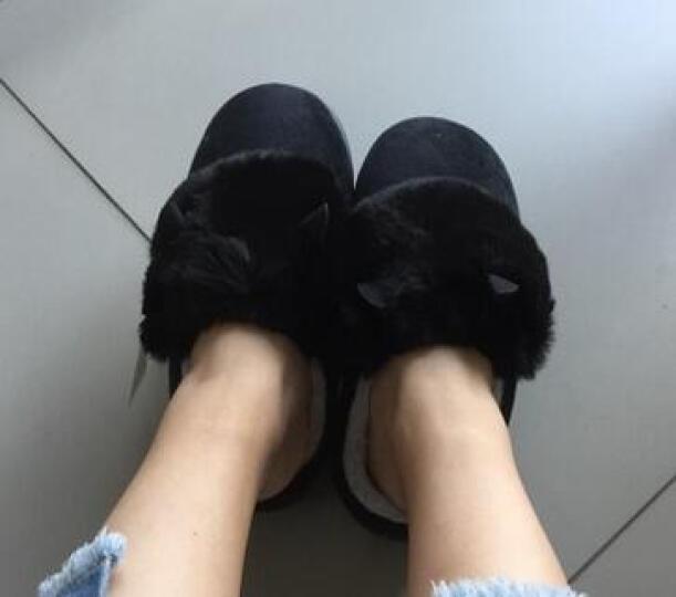 和居优品 冬天保暖棉拖鞋女士情侣拖鞋女居家防滑厚底保暖半包跟棉鞋月子鞋 蝴蝶结/绿 36/37码 晒单图