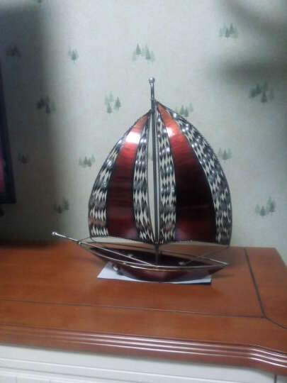 爱蒂可 一帆风顺 铁艺帆船装饰品摆件家居客厅玄关办公室工艺品摆件现代电视柜酒柜摆设新居礼品 小号红帆船+浑圆花瓶(金) 晒单图