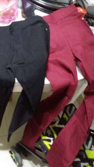 诗菲尼蒂2016韩版新款显瘦大码糖果色打底裤春秋外穿弹力小脚钉扣铅笔裤九分裤休闲裤女 浅紫色 XL适合115-130斤 晒单图
