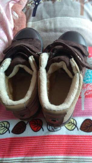 博士牛 冬季新款男童棉鞋男女童拼色棉靴保暖加绒儿童雪地靴童鞋1412 1412黑色 36码/内长21.5CM 晒单图