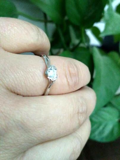 Anytime银饰品镀白金镶锆石心形S925女士戒指戒子女生日婚礼物刻字0801 指号联系客服或备注 晒单图
