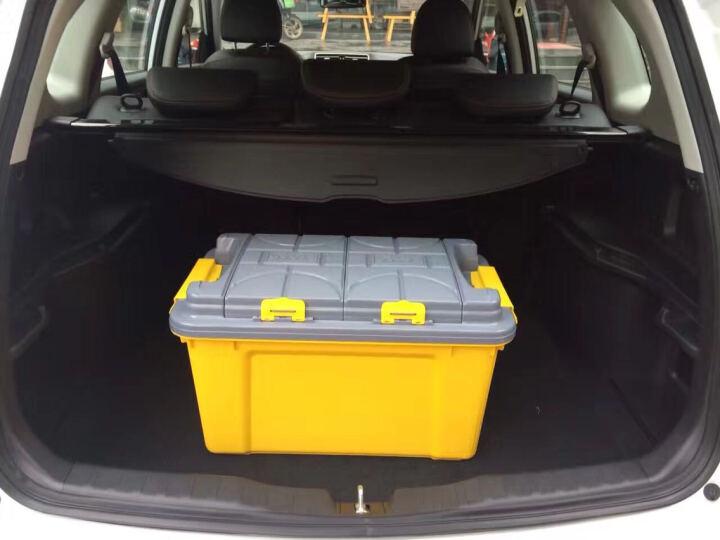 车洁美汽车储物箱车载汽车收纳箱大容量车用后备箱整理箱子置物箱盒 【双层盖】大号灰盖-水墨绿68L 晒单图