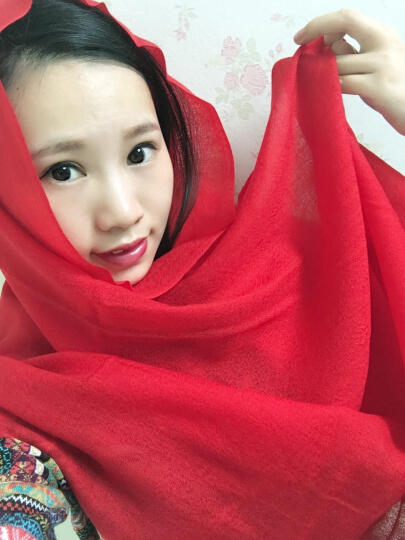 上海故事羊毛围巾女冬季大披肩两用纯色百搭韩版保暖围脖 2米3澳毛橘色 晒单图