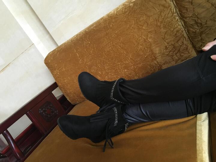流苏靴女内增高英伦短靴2018春秋新款坡跟圆头女靴水钻平底雪地靴低筒靴时装靴冬靴 黑色 DH19-51 36 晒单图
