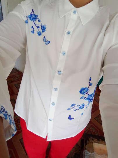 诱朵衬衫女长袖2019春秋冬职业装青花瓷印花上衣修身打底衫 白色不加绒 XXXL 晒单图