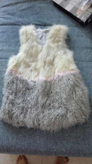 科伦普 狐狸毛马甲中长款女2016冬新款显瘦海宁羊羔毛背心滩羊毛皮草外套 白粉色 M 晒单图