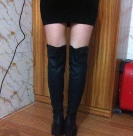 百年纪念长靴2019秋冬圆头高跟过膝长靴女高筒骑士女靴 蕾丝边性感女长靴女鞋 黑色 34码 晒单图
