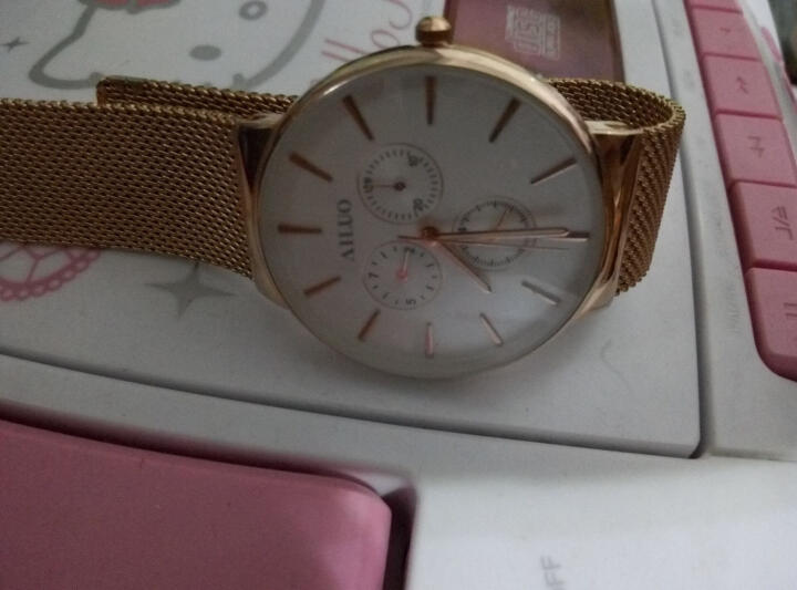 艾诺(AILUO)手表男士钢带休闲运动多功能防水男表石英情侣手表钟表 全钢本色白面银6针7091 晒单图