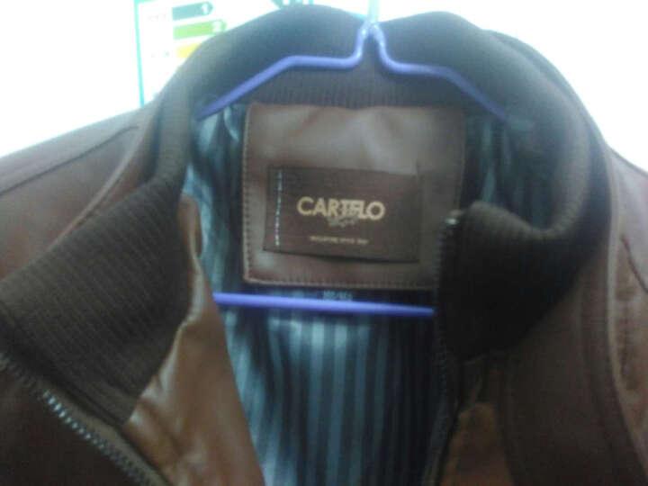 卡帝乐鳄鱼(CARTELO) 皮衣男 2017春季新款商务休闲男士修身薄款PU皮夹克 咖啡色. L 晒单图
