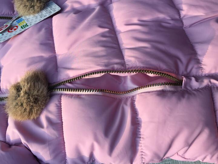 皮克狮童装女童棉衣冬装2017新款小女孩棉袄品牌中大童儿童羽绒服中长款保暖加厚外套 果绿色 120码建议身高110cm左右 晒单图