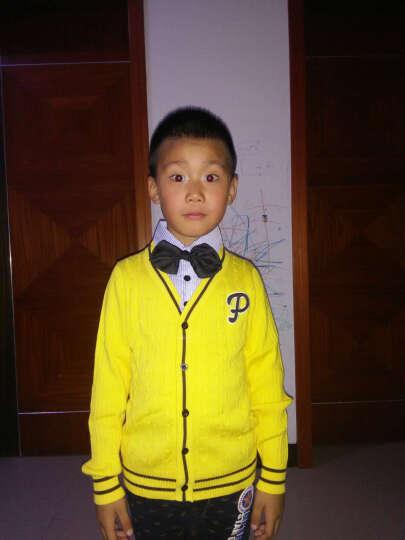 琥珀寻儿童中大童男童针织衫毛衣假两件套外套 黄色 120 晒单图