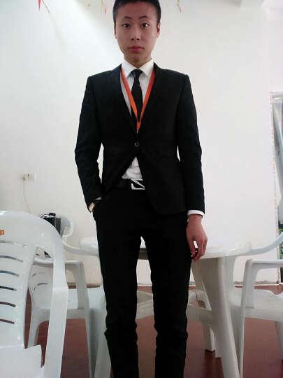 霸王车男士西服套装修身免烫商务休闲职业正装西装男套装新郎结婚礼服男 1070黑色加绒款 170码套装 晒单图